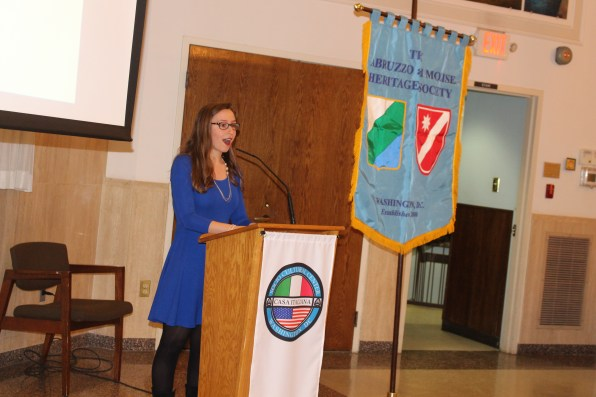 Maria LaVerghetta, AMHS scholarship winners, at the Jan 31, 2016 meeting