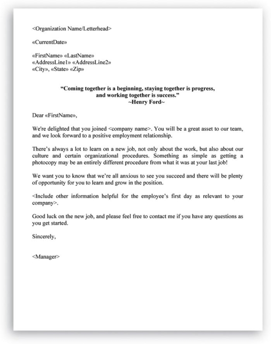 New Hire Checklist And Welcome Letter Included In HR Letters