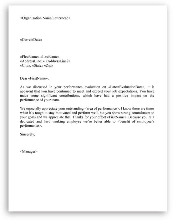 employee evaluation letter sample termination of employment letter