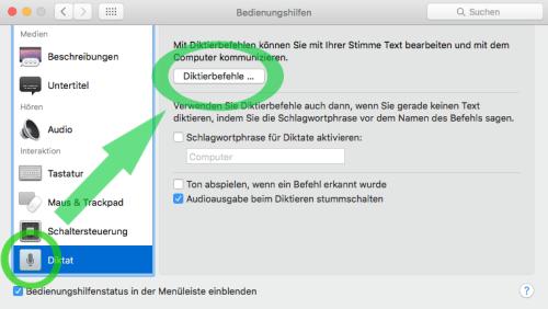 Mac Spracheingabe lernfähig