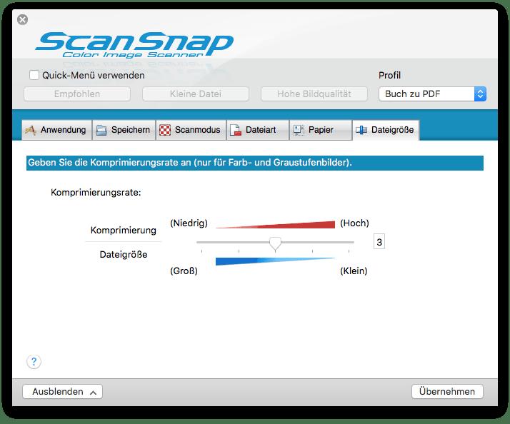 Scansnap SV 660 Einstellungen Komprimierungsrate