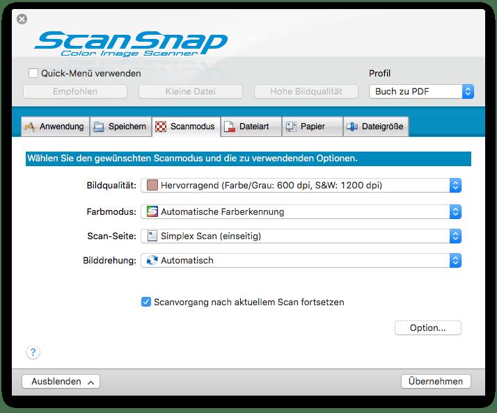 Scansnap SV 660 Einstellungen Scanmodus