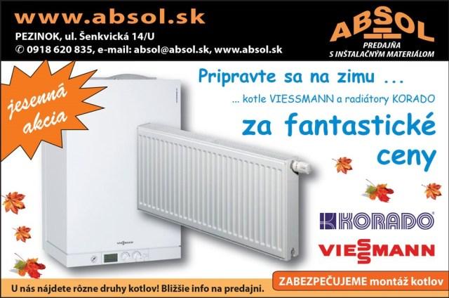 kotle Viessmann, radiatory Korado, jesenná akcia, Absol Pezinok, montáž kotlov