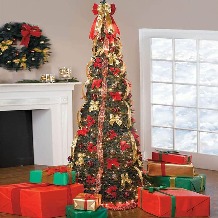 7 5ft Deluxe Pop Up Christmas Tree In Red And Gold