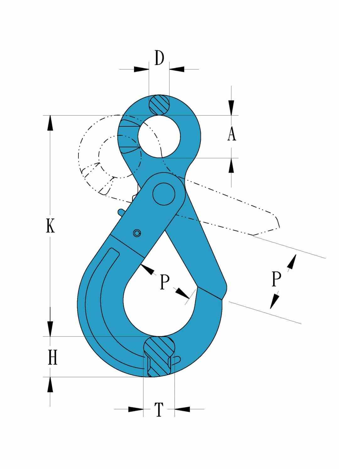 Grade 100 Chain Fittings Eye Self Locking Hook_drawing-min