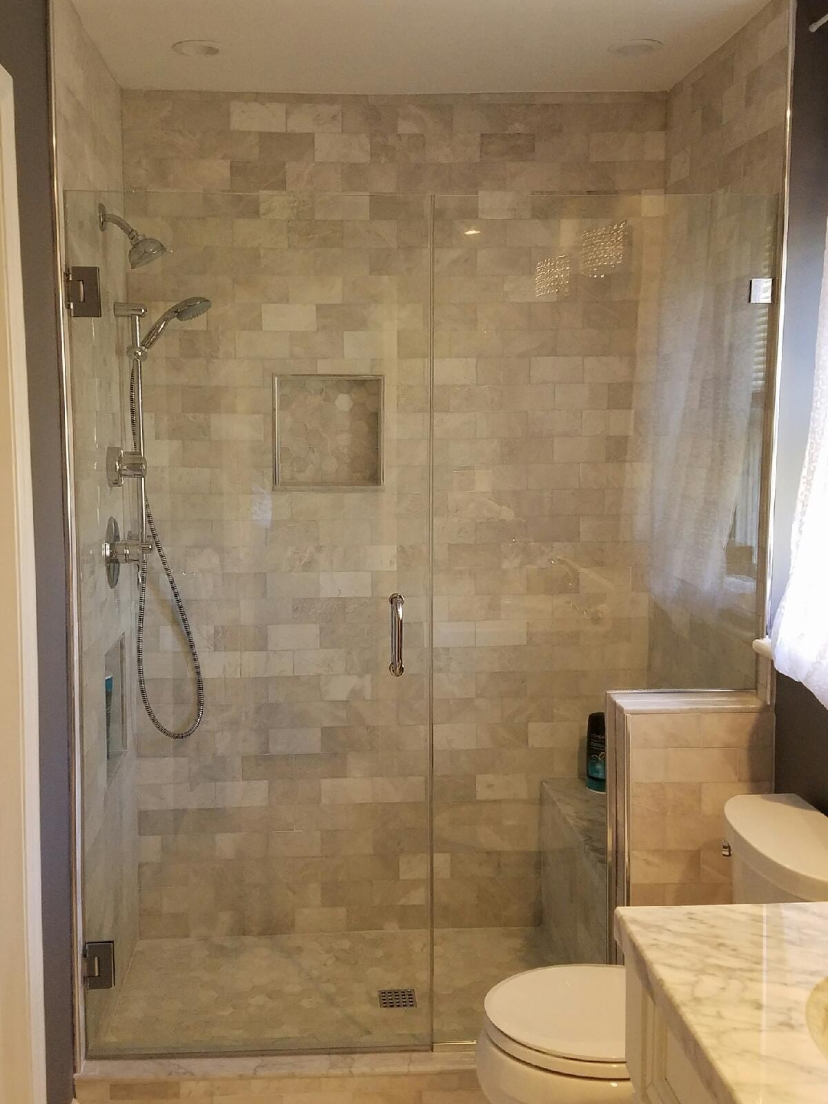 Frameless Shower Enclosure Notched Panel for Knee Wall - Absolute ...