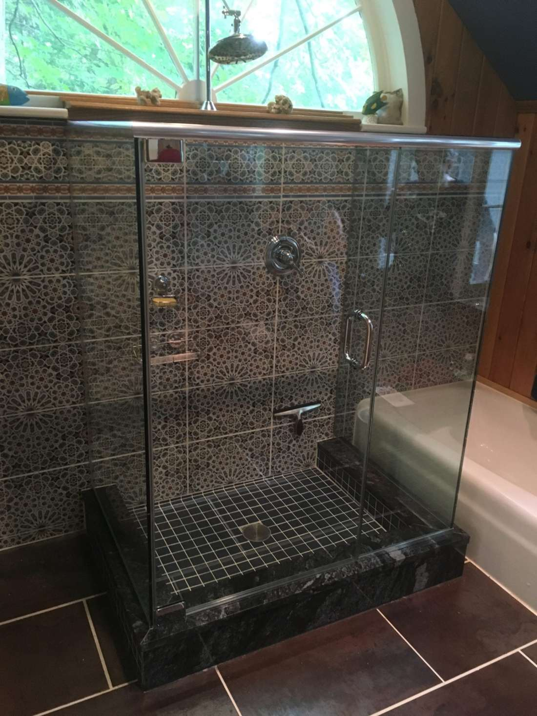 Frameless Shower Enclosure with Two 90-Degree Return Panels