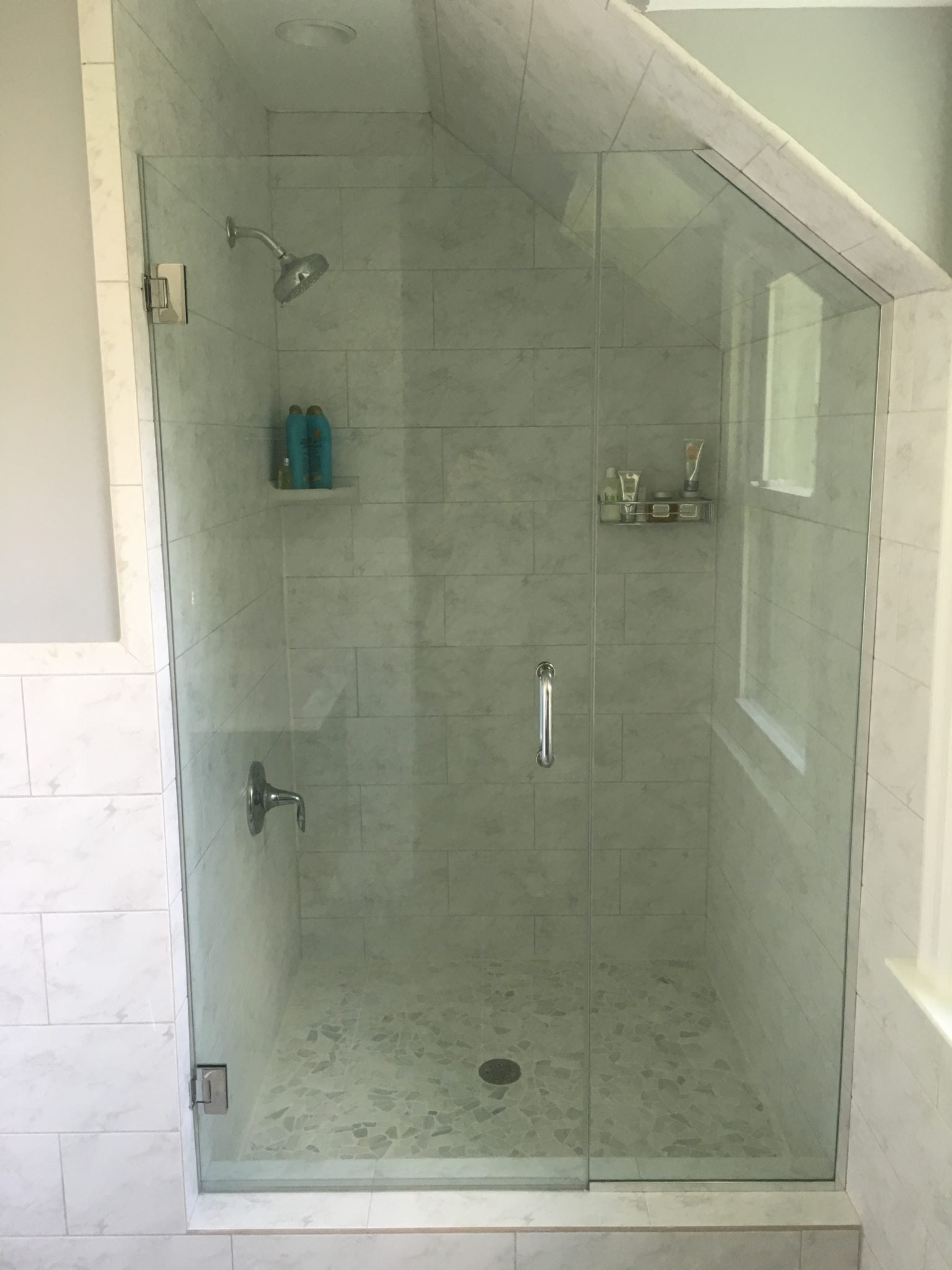Frameless Door and Angled Panel