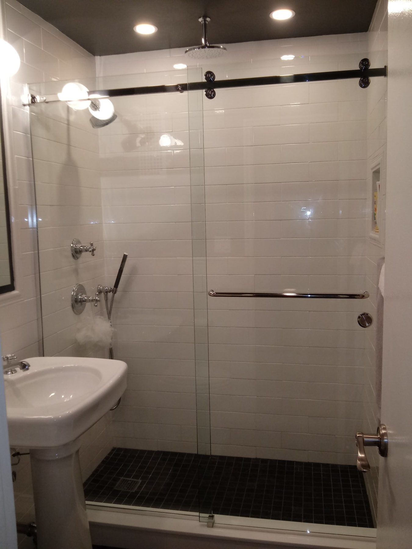Frameless Barnstyle Slider with Towel Bar Yonkers NY