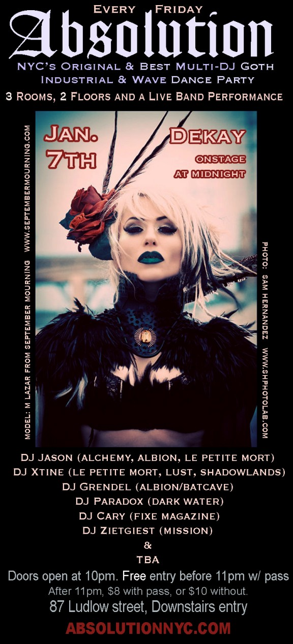 Absolution / Dekay on Jan. 7th NYC Goth