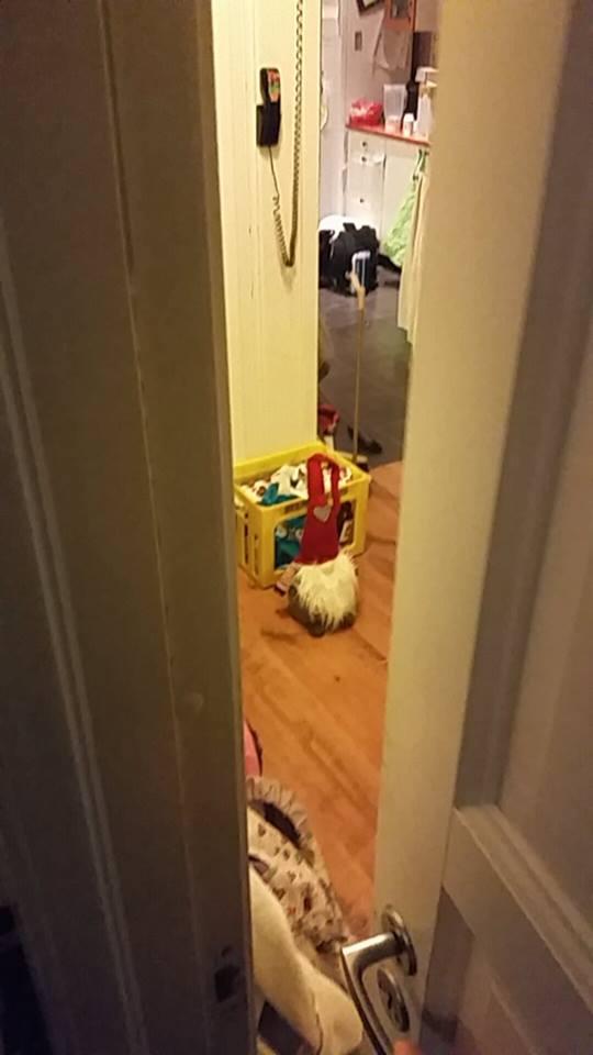 Eskil holder øye med ham fra sengen sin.