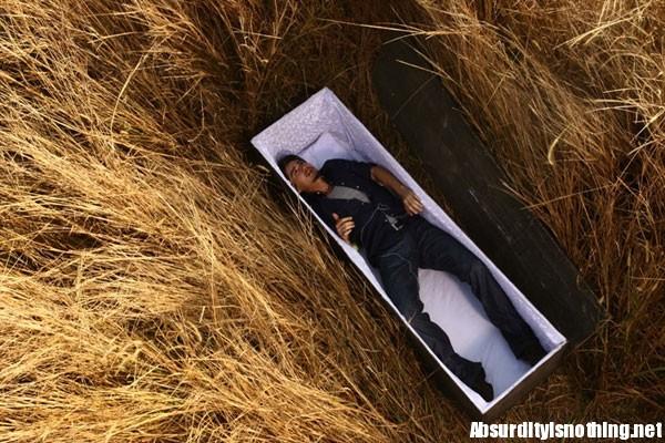 Man in coffin