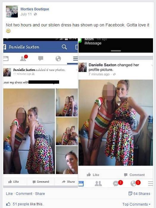 Ruba un vestito e pubblica le foto su Facebook (1)