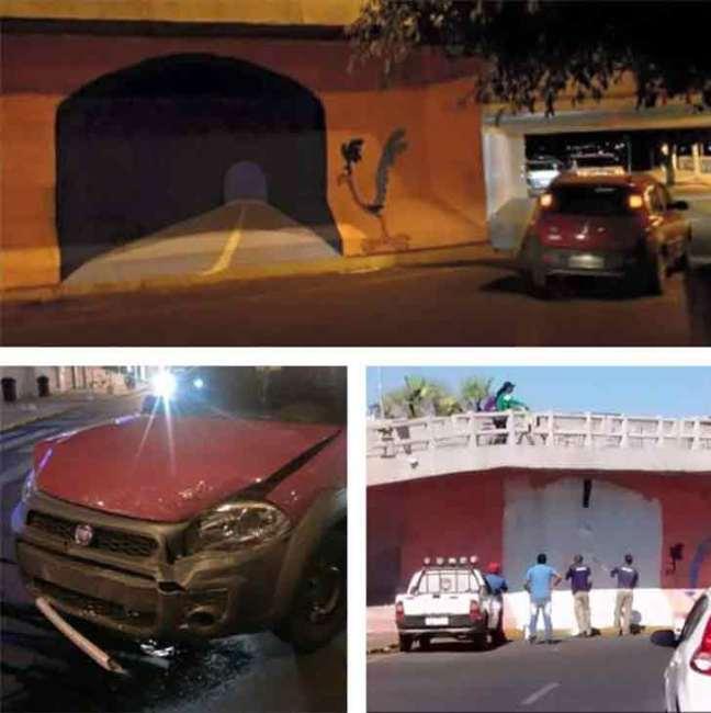 Artista disegna un tunnel su un muro, automobilista cerca di attraversarlo