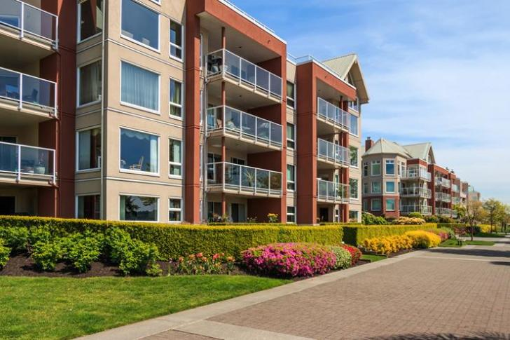 Modern apartment buildings in New Westminster, British Columbia, Canada.