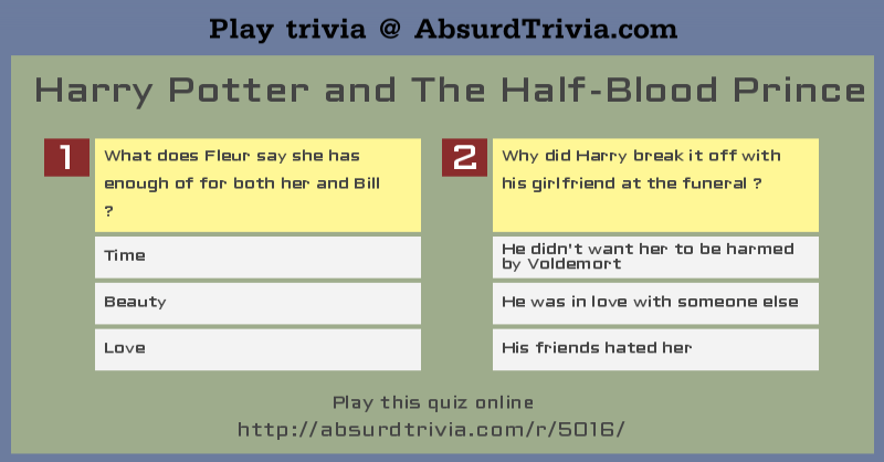 Harry Potter And The Half Blood Prince Quiz 2