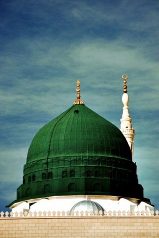 This green dome at the Prophet's Mosque in Madeenah, over his grave, was a later addition of the sixth century. It was not built or approved by the Companions or by the early scholars and well-known Imāms.