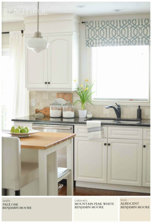 A Modern Farmhouse Kitchen Is Painted Light Grey Pale Oak By Benjamin Moore For