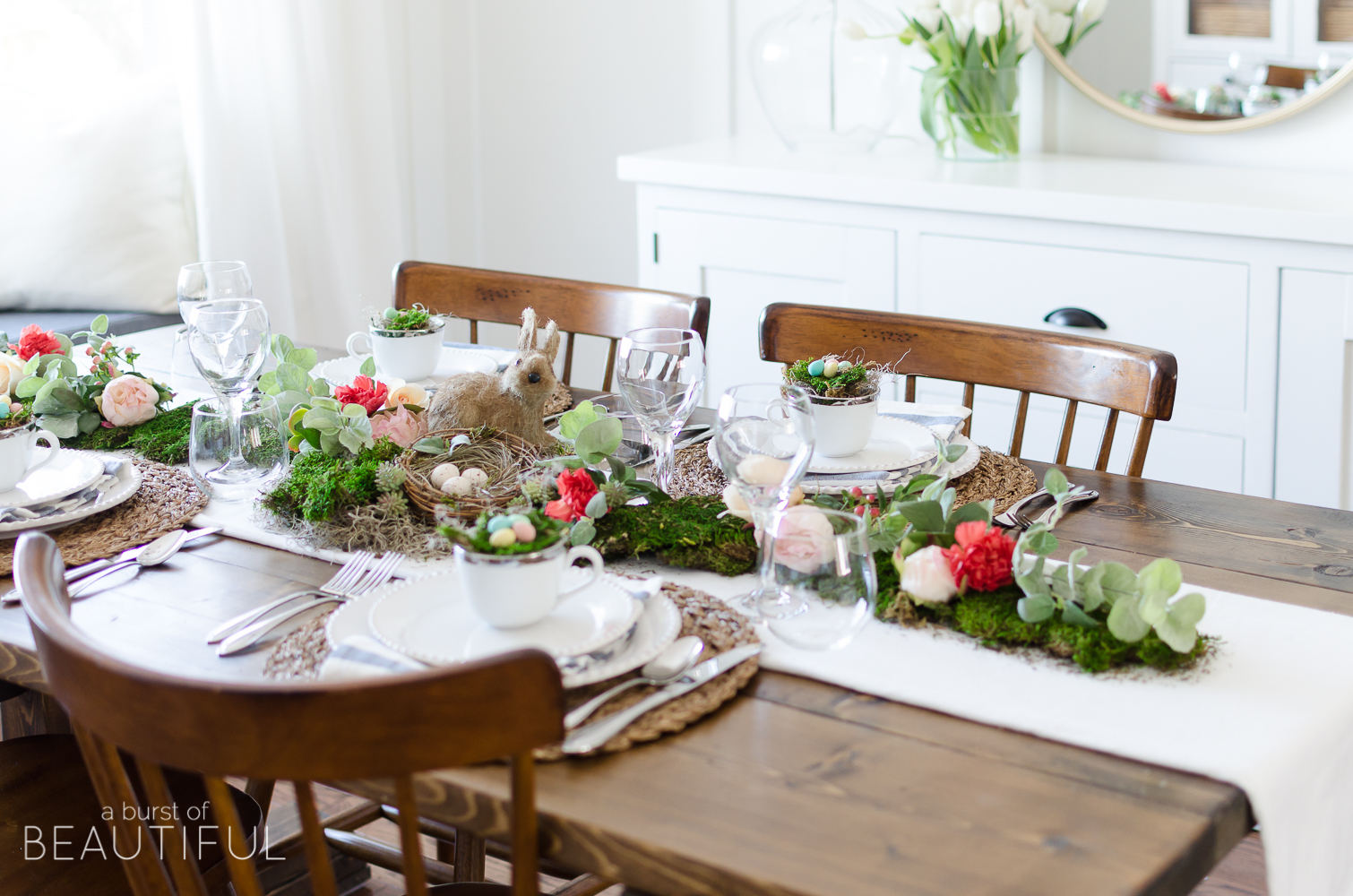 Floral And Moss Easter Tablescape A Burst Of Beautiful