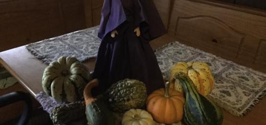 purple lady celebrating the harvest