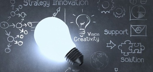 lightbulb against chalkboard with words like creativity, innovation, support written with drawings