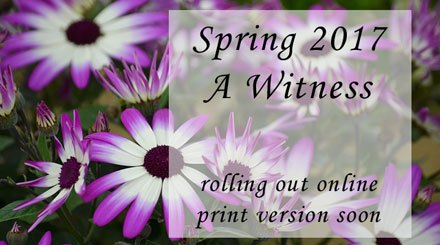 "picture of spring flowers with text saying ""Spring 2017 A Witness rolling out online, print edition soon"""