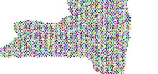 picture of New York State with lots of colored dots filling the state outline