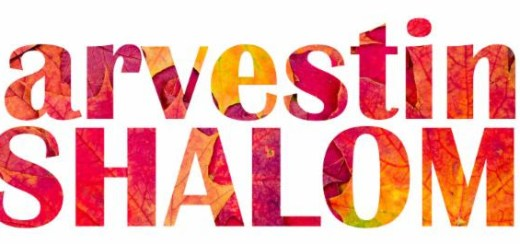 Harvesting Shalom written in a mosaic of red, yellow and orange