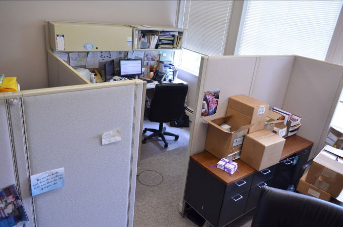 The cramped space the national office has worked with for years, why we need to Dig In for New Digs!