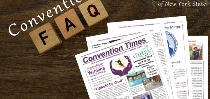 Convention with FAQ spelled out with scrabble like tiles, picture of the pages of the Convention Times fanned on a wood background