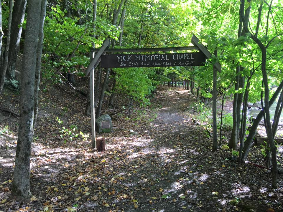 a picture of the entrance to the Vick Memorial Chapel at Pathfinder Lodge