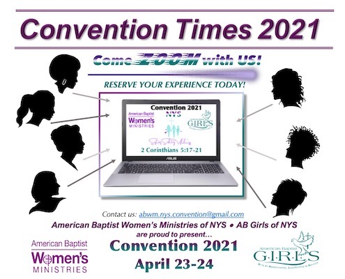 An image for Convention 2021, Come Zoom with us, reserve your experience today! Convention 2021 will be on April 23-24, 2021.