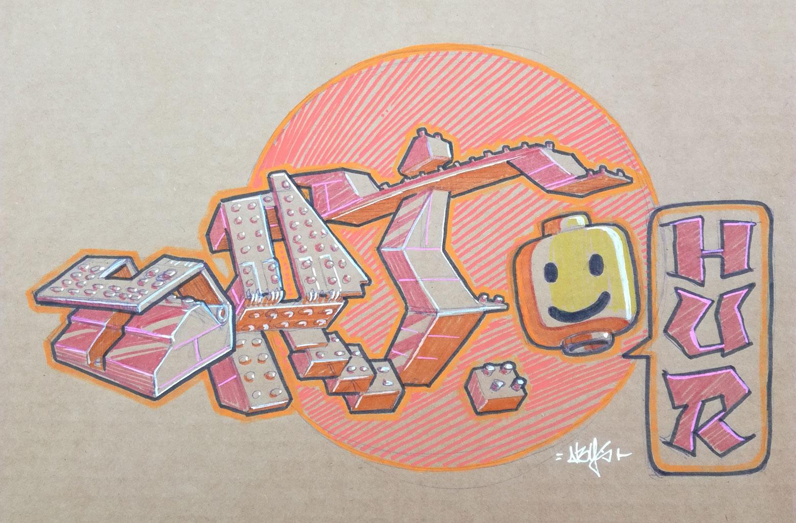 sketchbook - graffiti art - illustration - abys 2 fly - lego - streetart