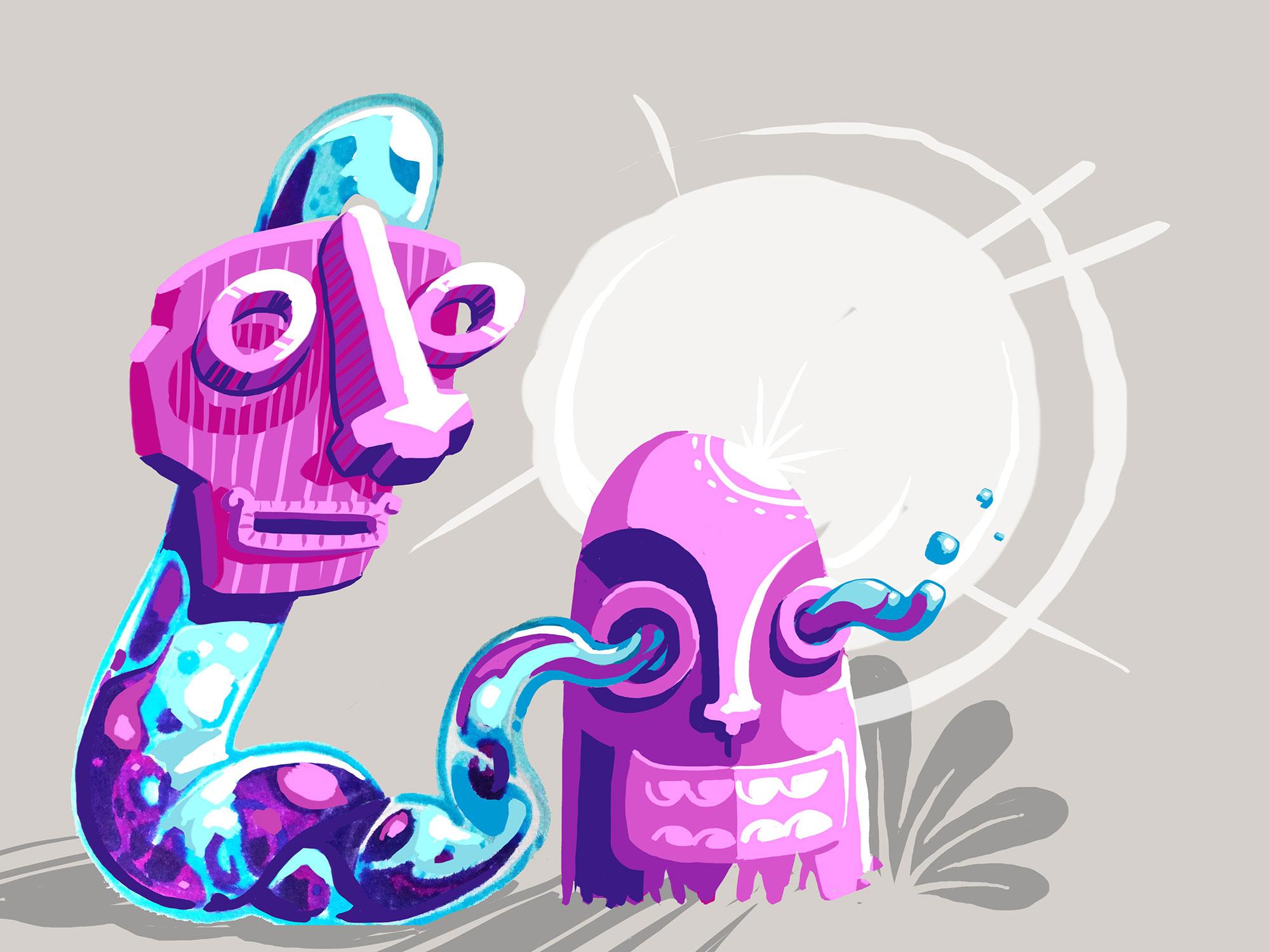 abys illustrateur - graphiste - da lyon - concept-art tribal vegetal @peinturefraichefestival - peinture fraiche festival