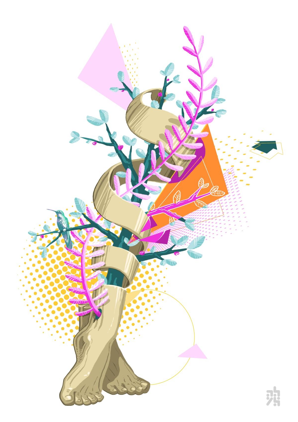 illustrateur - graphiste - abys digital painting lyon pied vegetal colibri