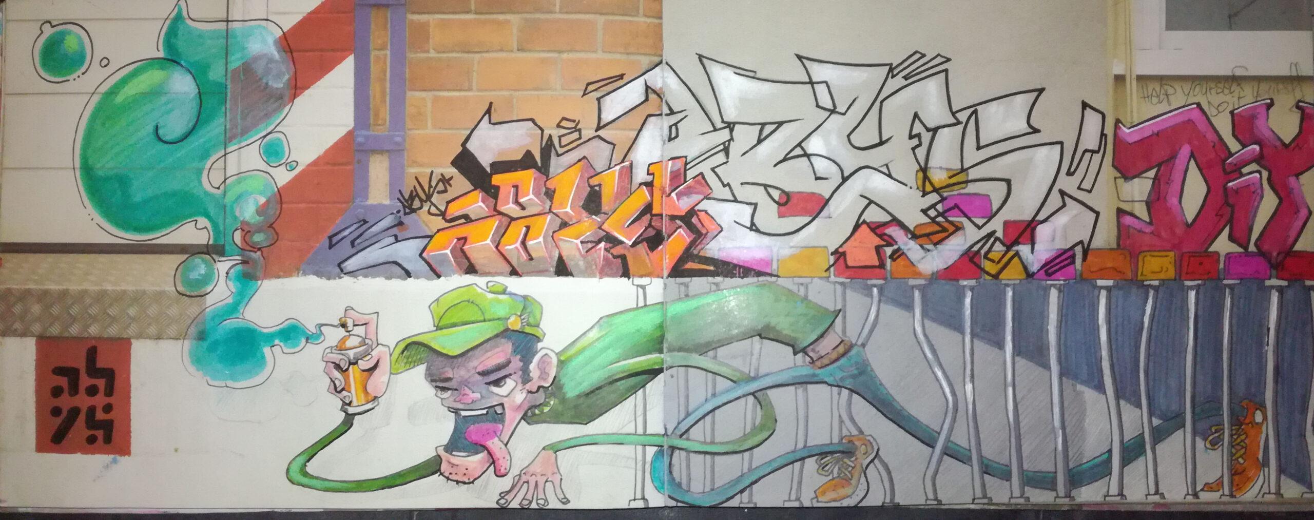 sketchbook - graffiti art - illustration - abys 2 fly - escape