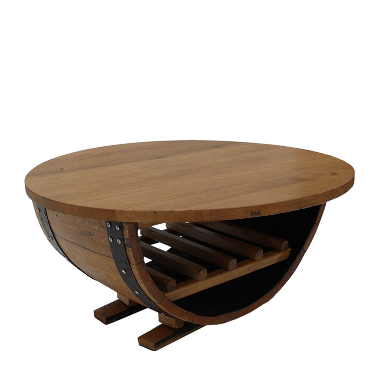 ring coffee table oak table top wine rack