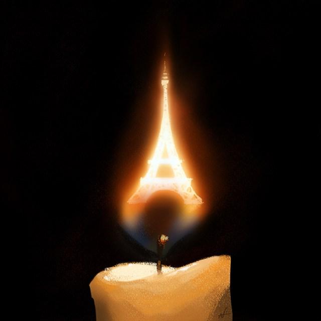Pray for Paris candle
