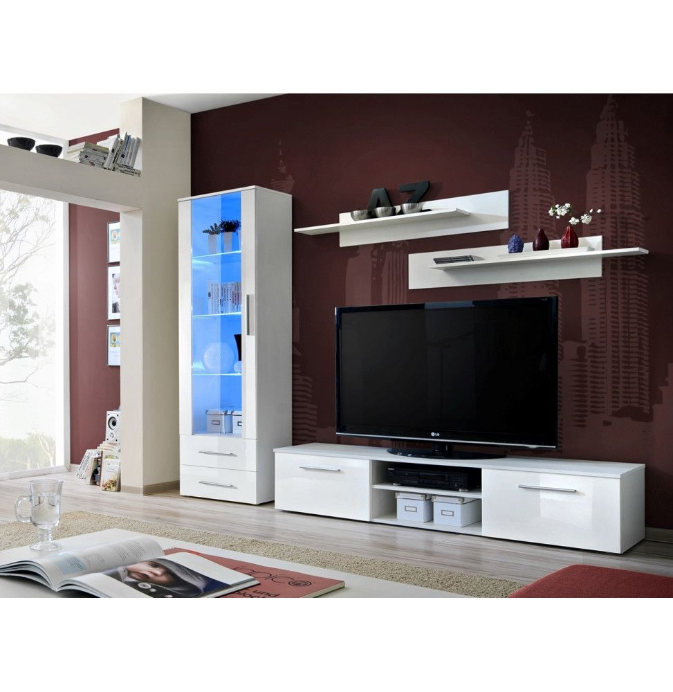 ensemble mural galino a 1 vitrine blanche led 2 etageres blanches 1 meuble tv blanc