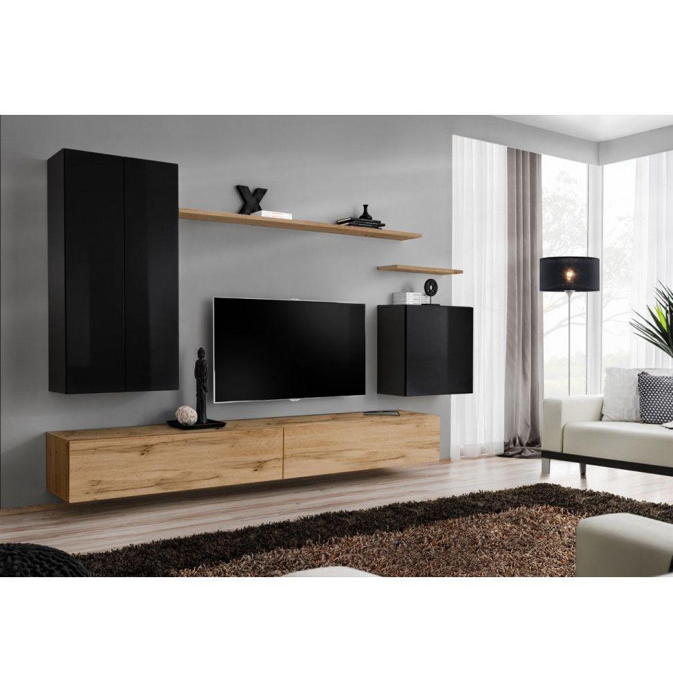 ensemble mural switch xx 1 vitrine led 1 banc tv 1 etagere murale bois et noir modele 2