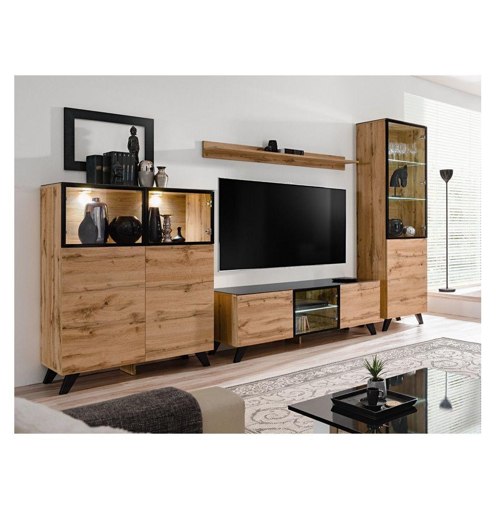 ensemble mural meuble tv thin 4 elements bois