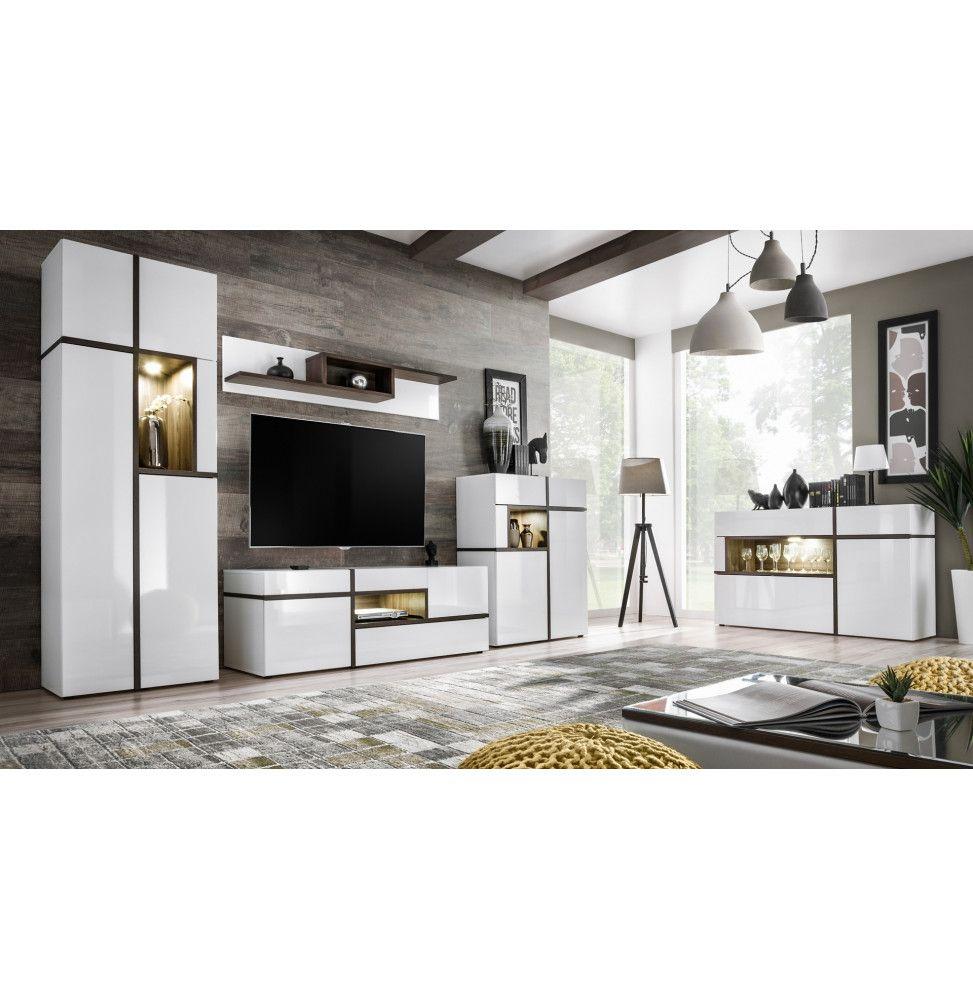 ensemble mural meuble tv cross 4 elements blanc