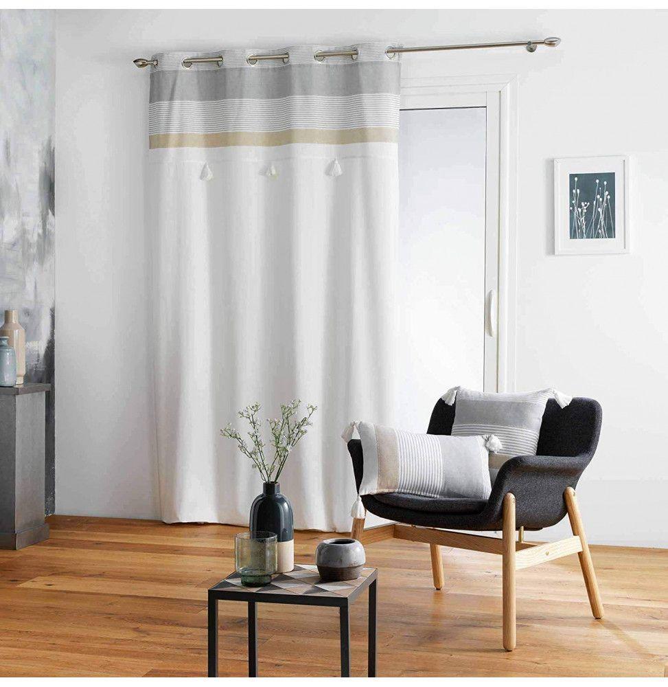 rideau a oeillets 140 x 240 cm coton top pompons iliade