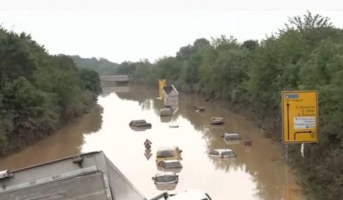 německá dálnice povodně