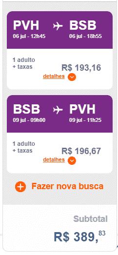 Trecho da Gol de Porto Velho para Brasília no valor de R$ 389,83 (ida 6 de julho e volta 9 de julho)
