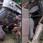 Acidente com caçamba do Exército deixa motorista preso às ferragens