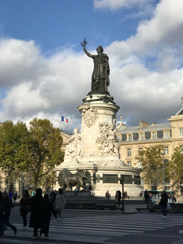 Statute depicting Liberty, Equality & Fraternity at Place de la République . Today integration is at threat vis a vis isolation.