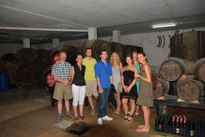 Group of people studying Spanish at a wine tasting session in a Sherry winery in Prado del Rey