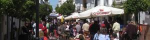 The pedestrian street of Prado del Rey at a weekend in spring