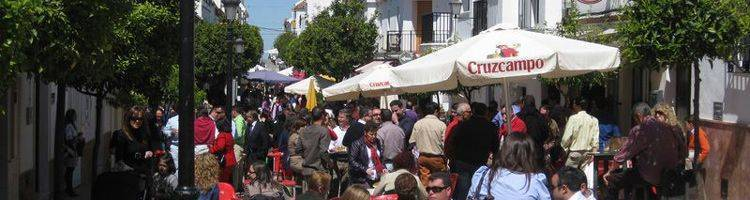The pedestrian street of Prado del Rey at a weekend in spring